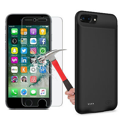 AU64.59 • Buy Rechargeable Protective Battery Case For IPhone 7 Plus/ 8 Plus, Tempered Glass