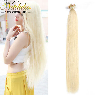 $37.04 • Buy 100S Pre Bonded Keratin Stick I Tip Hair Real Human Hair Extensions #613 Blonde