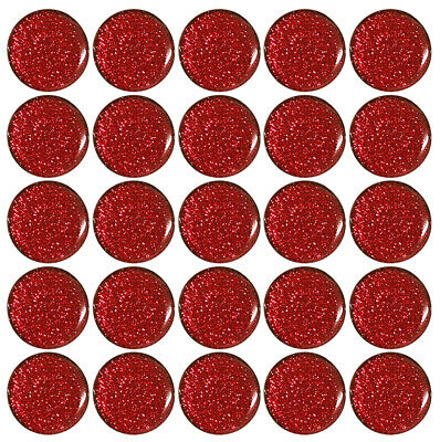 £4.99 • Buy 25x Red Sparkle Gel Domed Stickers 25mm 1 Inch Self Adhesive Bottle Caps