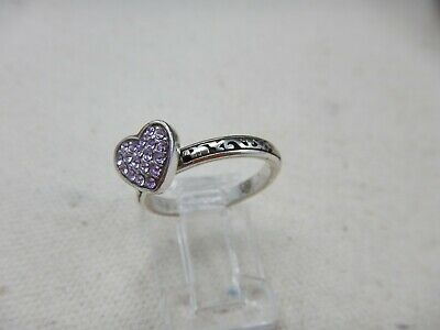 Brighton Petite CLEAR ROCK ROMANCE Crystal Heart Ring Size 7 • 14.99$