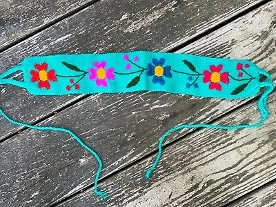 $15.90 • Buy Baby Toddler Child Faja Mexican Belt Embroidered Woven Cotton Flowers Teal X6