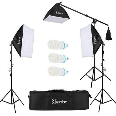 Photography Studio 3x65W Softbox Lighting Stand Photo Video Light Boom Arm Kit K • 49.96£