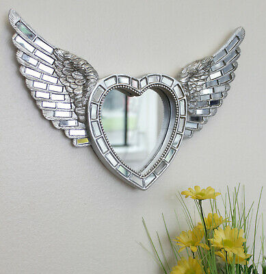 £15.99 • Buy Large Silver Angel Wings Mirror Wall Mounted Mosaic Home Decor Feathered Heart