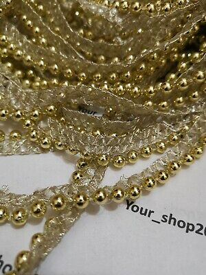 £2.15 • Buy 1 Yard Beautiful Embroidered Gold Beaded Lace Trimming Ribbon Wedding Dress