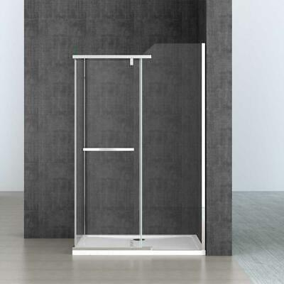 Shower Enclosure Pentagonal Frameless Pivot Hinged Clear Glass 8mm And Tray • 239.90£
