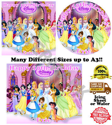 £4.20 • Buy Disney Princesses Personalised Edible Wafer Icing Cake Topper Costco Upto A3