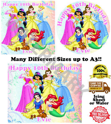 £2.60 • Buy Disney Princesses Personalised Edible Wafer Icing Cake Topper Costco Upto A3