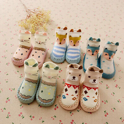 Infant Baby Girl Boy Toddler Anti-slip Warm Slippers Socks Cotton Crib Shoes UK • 5.59£