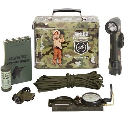 Kids Army Explorer Kit Ammo Gift Tin Torch Whistle Compass Notepad Boys Soldier  • 22.99£