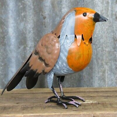 Large Robin Metal Bird Hand Painted Garden Or Home Ornament • 9.99£