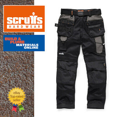 Scruffs Pro Flex Trousers With Holster Pockets BLACK Trade 28 -40  FULL RANGE • 49.25£