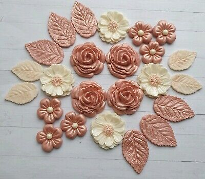 ROSE GOLD Flowers & Leaves ,fondant Cupcake Toppers,wedding,birthday Decorations • 9.95£