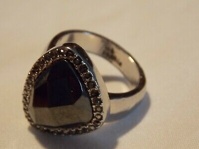 $ CDN10.03 • Buy Lia Sophia Glam Rock Black Ring Silver Size 9