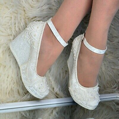 Ladies Bridal Wedges Shoes LACE & PEARLS High Heel Ivory Pumps Ankle Strap, Size • 29.95£