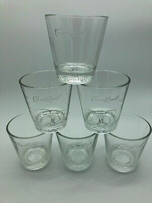 Crown Royal Embossed Pillow Bottom Canadian Whiskey Rocks Lowball Glass Set Of 6 • 24.99$
