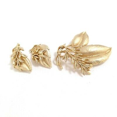 Signed Sarah Coventry Gold Tone Leaf Brooch & Earring Costume Jewelry Set #DA96 • 15.19$
