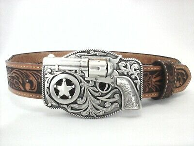 $26.95 • Buy JUSTIN Belt Brown Tooled Leather Western REVOLVER Gun Buckle USA Youth New
