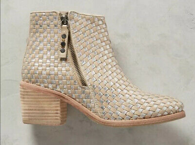$ CDN59.53 • Buy Kelsi Dagger Brooklyn KDB Grove Woven Metallic Tan Booties Ankle Boots Size 9.5