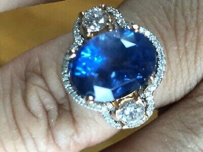 10 Cts Unheated Untreated Ceylon Blue Sapphire Gia Gold Ring • 10,000$