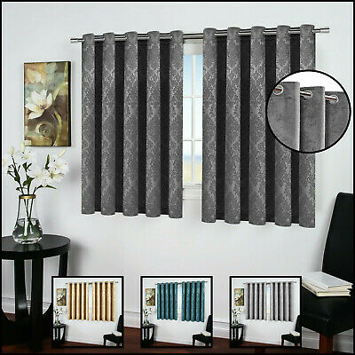 Thermal Blackout Eyelet Ring Top Bedroom & Kitchen Small / Short Window Curtains • 31.98£