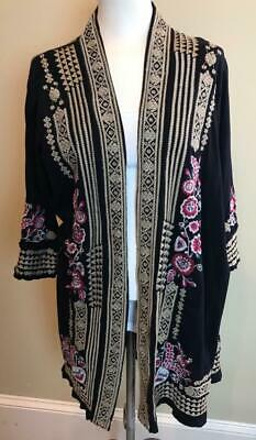 JOHNNY WAS JWLA Black Floral Embroidered Cotton Duster Kimono Jacket Size M • 139$