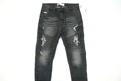 AU87.28 • Buy Nena And Pasadena Nxp 32 Ripped Ribbed Cut Knee Moto Jogger Destroyer Jeans Slim