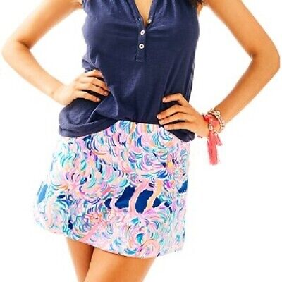 Lilly Pulitzer Madison Skort Skirt Head In The Sand Pelican Pink Blue Size M • 34.99$