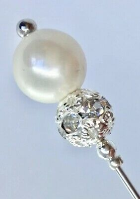 Glass Pearl Wedding Hats Vintage Silver Style 5 Inch Long Hat Pin & Protector** • 5.70£