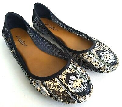 $27.49 • Buy Lucky Brand Sequin Ballet Flats Womens Size 8.5 Slip On Shoes Black/Silver/Gold