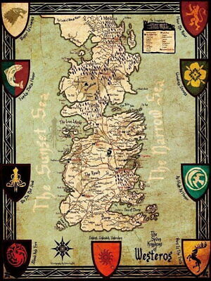 £9.95 • Buy 60758 Map Game Of Thrones World View Westeros & Essos Wall Print POSTER UK