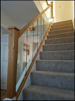 Solution Glass Panels  - Rake And Landing Slotted Handrails - Glass Stair Parts • 28.95£