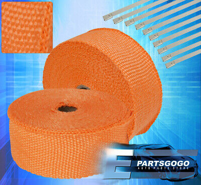 $ CDN47.29 • Buy 30Ft X2 X1.5mm Heat Wrap Sheild Cover Exhaust Down Turbo Super Charger Orange