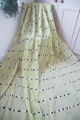 Ikea Green Tab Top Voile Curtains,42wx117d,taupe,brown,cream Velvet Dots,long • 49.25£
