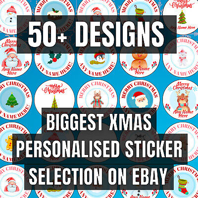 PERSONALISED Christmas Stickers / Merry Christmas Labels Gift Tags (70 Per Pack) • 2.25£