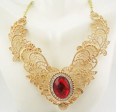 Joan Rivers Filigree Faceted  Cabochon Necklace   21  2  Ext.   RED • 23.50$
