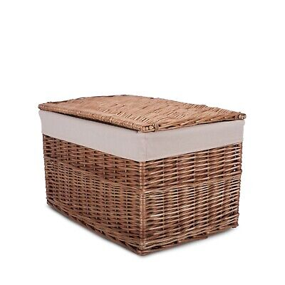 Brown&White Wash Wicker Large Storage Hamper Chest Trunk • 21.99£