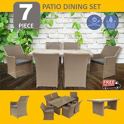 AU1351.29 • Buy 7PCS Outdoor Dining Furniture Set Wicker Garden Table & Chairs Coffee Brown