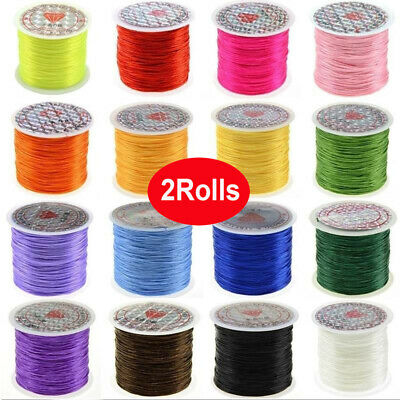 $ CDN2.27 • Buy 2Rolls Elastic Stretchy Beading Thread Cord Bracelet String Jewelry Making 1Mm