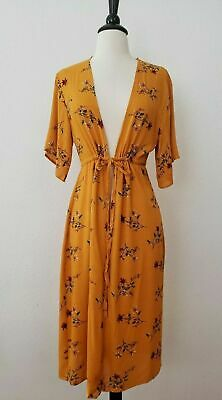 $ CDN26.51 • Buy Anthropologie Kimono New Size Medium Yellow Mustard Floral Drawstring Boho