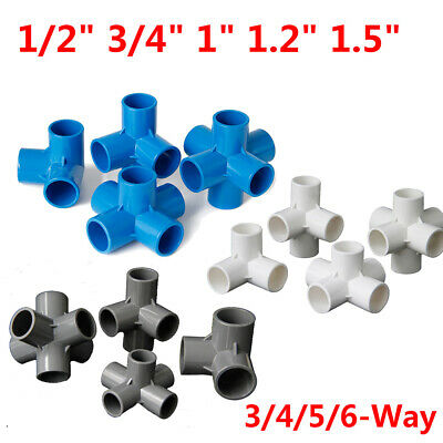 £1.69 • Buy PVC 3/4/5/6-Way Elbow Connector Pipe Fittings 1/2  3/4  1  1.2  1.5  Blue White