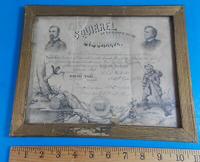 $1699.99 • Buy Vintage Very Rare Civil War The Squirrel Hunters Honorable Discharge 1862 Ohio