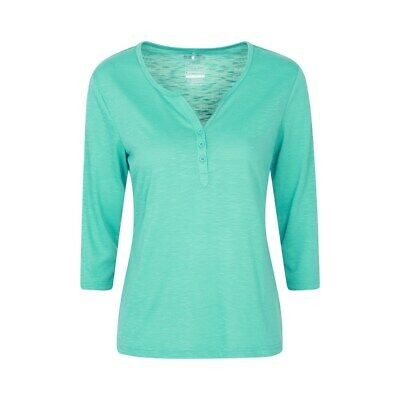 Mountain Warehouse Paphos Ladies Top UV Protect Breathable ¾ Sleeve Button Top • 7.80£