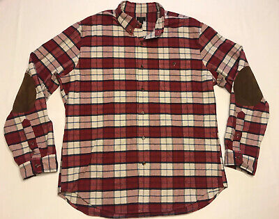 $21.77 • Buy J. Crew Flannel Red Plaid Cotton Shirt Suede Elbow Patches Slim Fit Size XL