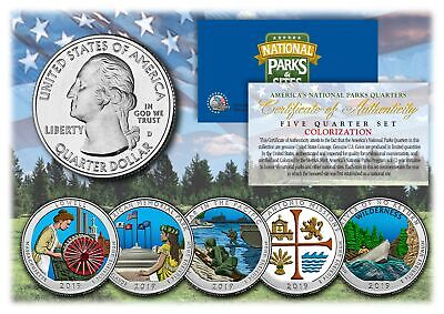$ CDN17.66 • Buy 2019 America The Beautiful COLORIZED Quarters U.S. Parks 5-Coin Set W/ Capsules