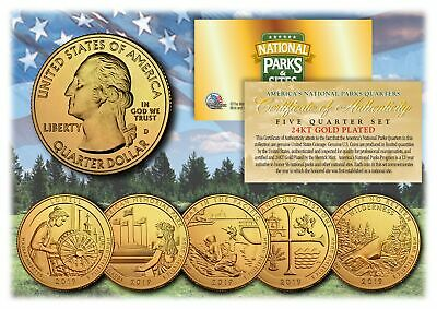 $ CDN17.66 • Buy 2019 America The Beautiful 24K GOLD PLATED Quarters Parks 5-Coin Set W/ Capsules