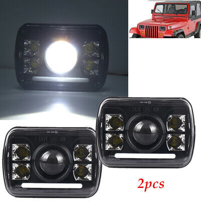$114.09 • Buy 2×Rectangular 5x7''Led Headlight Projector Fit For Jeep Wrangler SUV Truck Alloy