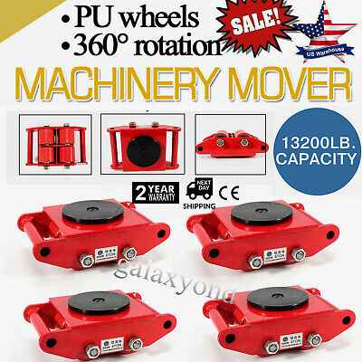 $203.32 • Buy 4Pcs/Set Machine Dolly Skate Machinery Roller Mover Cargo Trolley 13200lbs/6 Ton