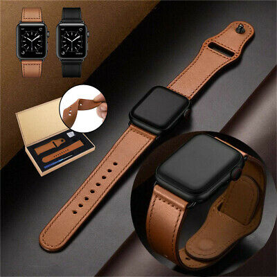 AU13.99 • Buy Genuine Leather Apple Watch Band Strap For IWatch Series 1/2/3/4/5 38/42/40/44mm