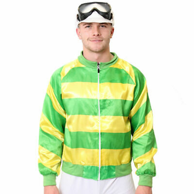 £15.98 • Buy Jockey Costume Green And Yellow Stripes Fancy Dress Outfit With Jacket And Hat