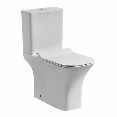 Hillary Rimless Short Projection Toilet Close Coupled Compact Inc Seat • 129.99£